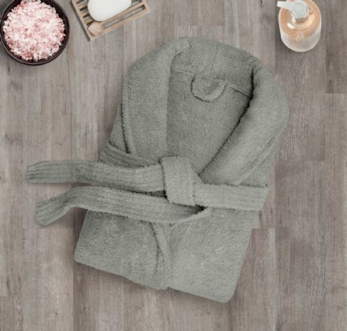 100% Cotton Terry Toweling Luxury Bath Robe Mens & Ladies Collar Shawl Dressing Gown Slate Grey